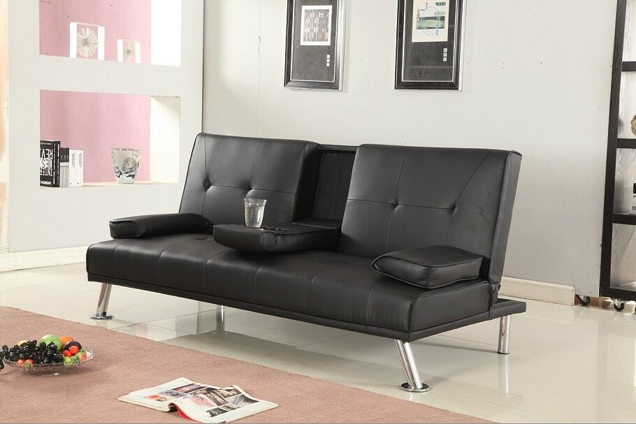 Details About Italian Style Luxury Sofa Bed With Drink Cup Holder Table Faux Leather 4 Colours
