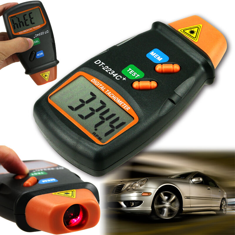 Digital laser photo tachometer non contact rpm tach meter for Tachometer for electric motor