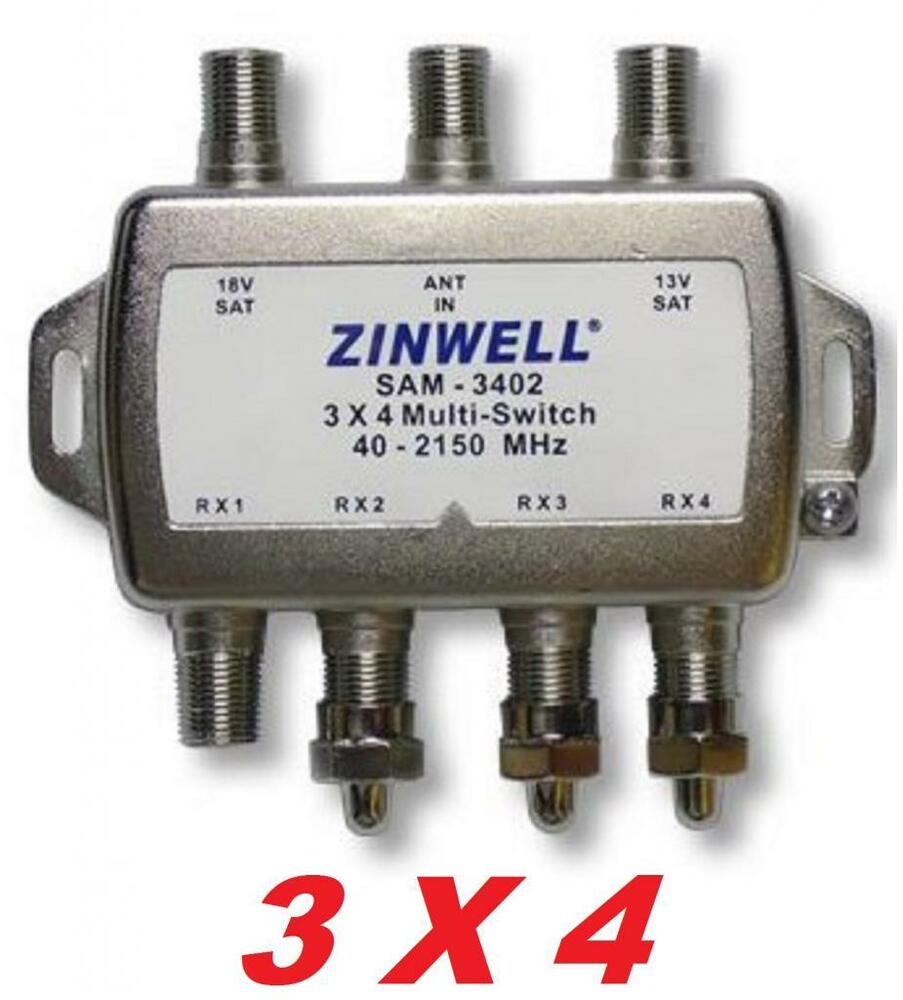 3x4 multi switch quad output lnb zinwell sw34 2x4 satellite directv dish network ebay. Black Bedroom Furniture Sets. Home Design Ideas