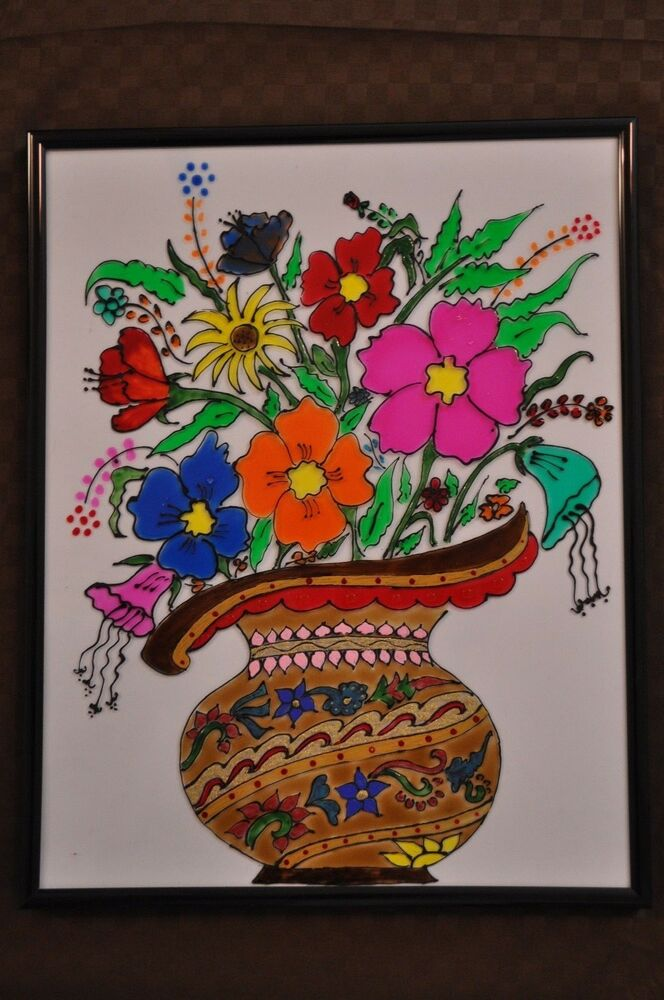 Stained glass painting - colorful flower pot   eBay