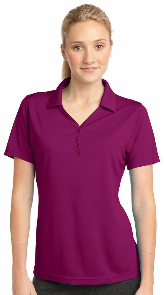 Sport Tek Women 39 S Polyester Double Mesh Three Button Golf