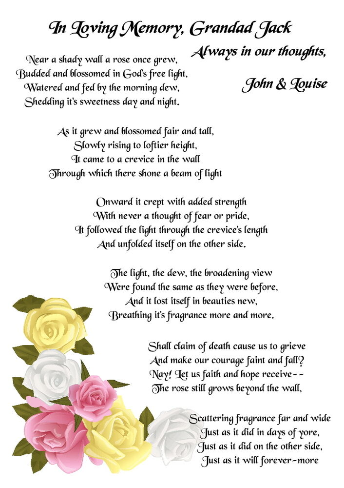 The Rose Beyond The Wall Memorial Funeral Poem
