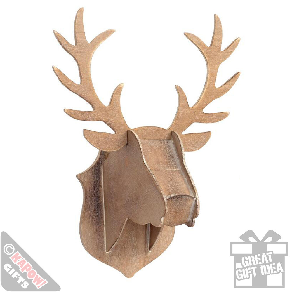 Wooden stag head wall decor xmas wall hanging plaque for Animal head wall decoration