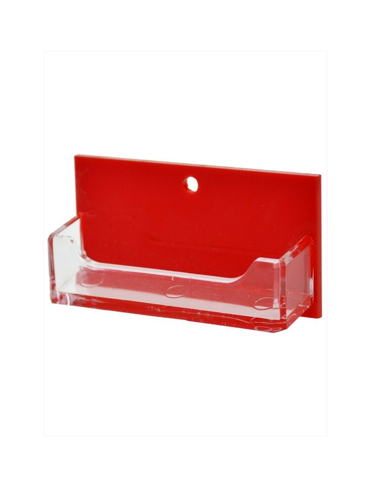 Red and clear single pocket horizontal wall mount business for Business card display frame