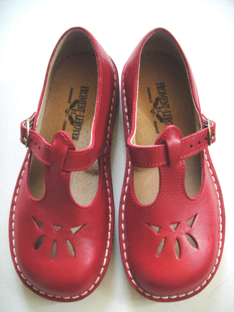 New Froment Leroyer France Red Leather Girls Mary Jane