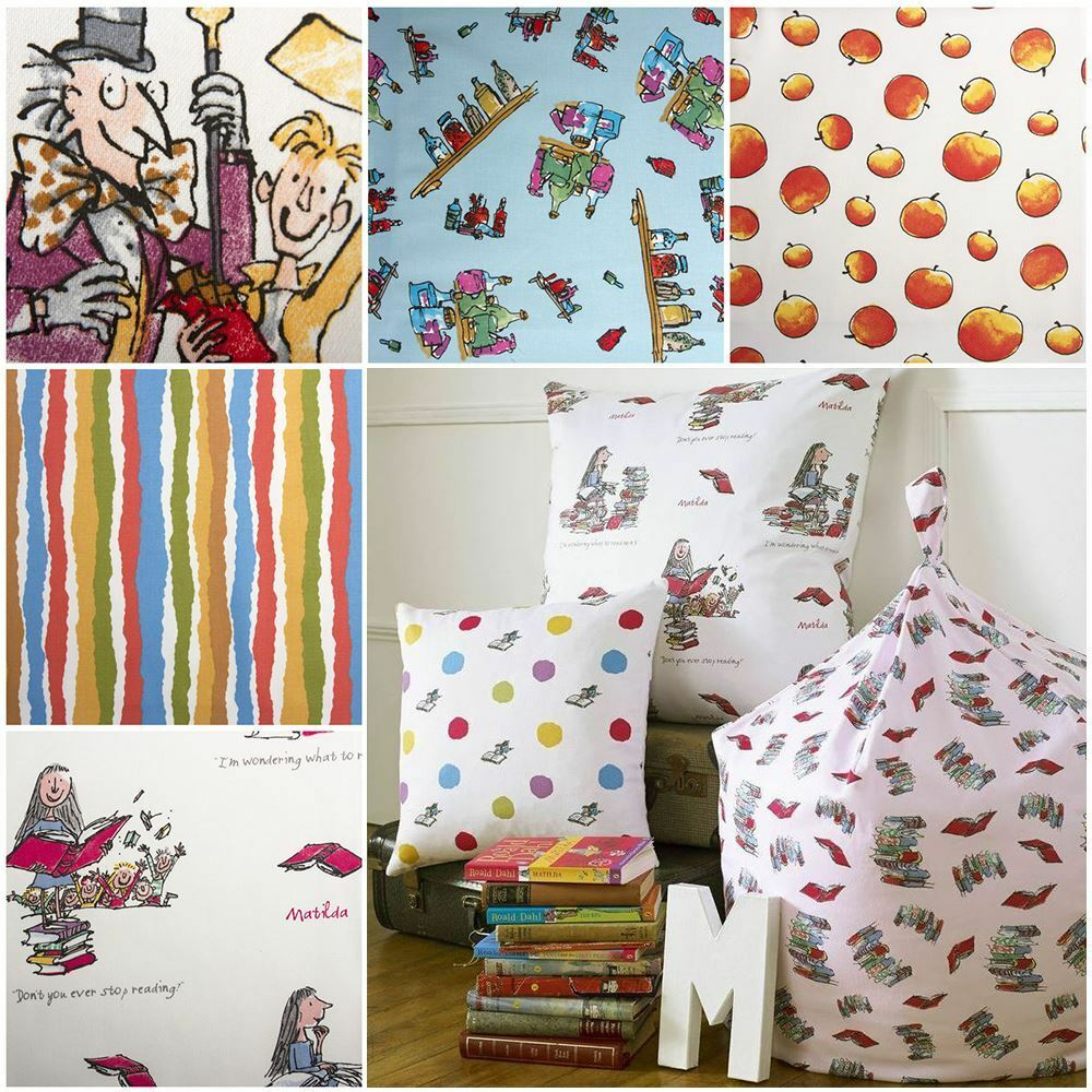 Roald dahl quentin blake art story quilting curtain craft for Fabrics for children s curtains