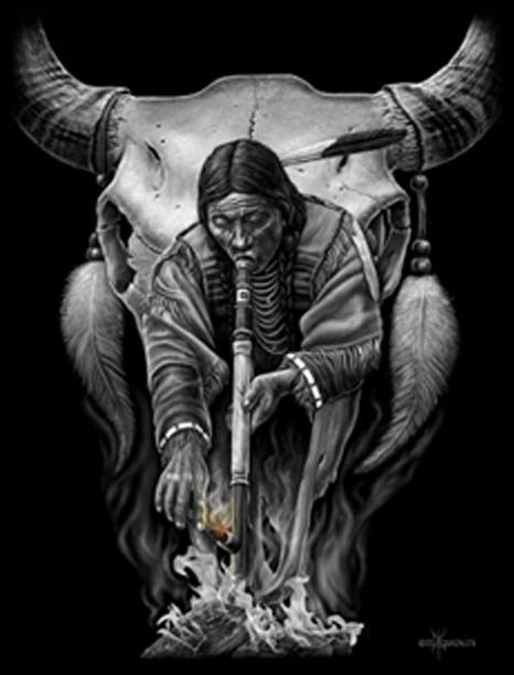 Chiefin native american indian canvas art 12x16 by dga for Ride or die tattoo designs