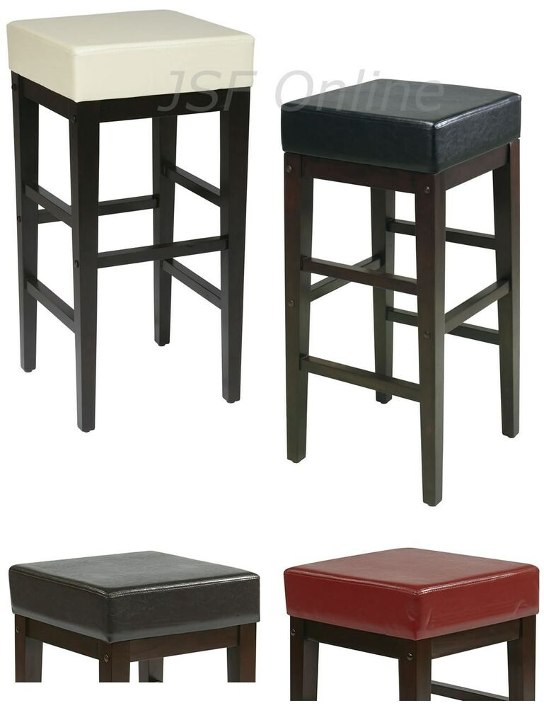 Faux Leather Seat Wood Legs 30h Square Bar Breakfast