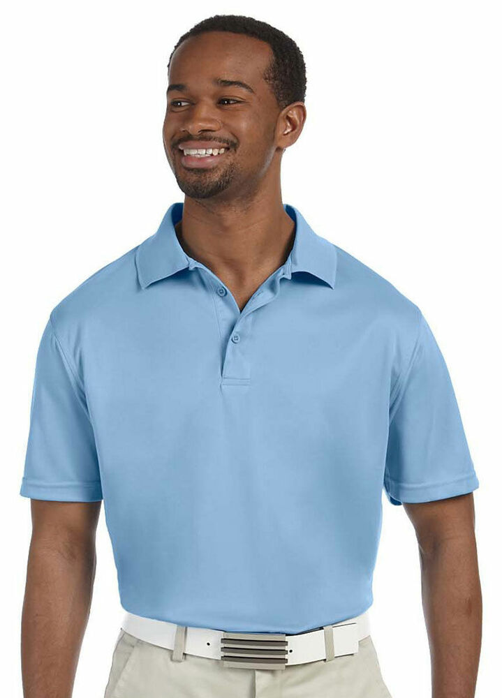 Harriton men 39 s new three button placket short sleeve for Men s polyester polo shirts