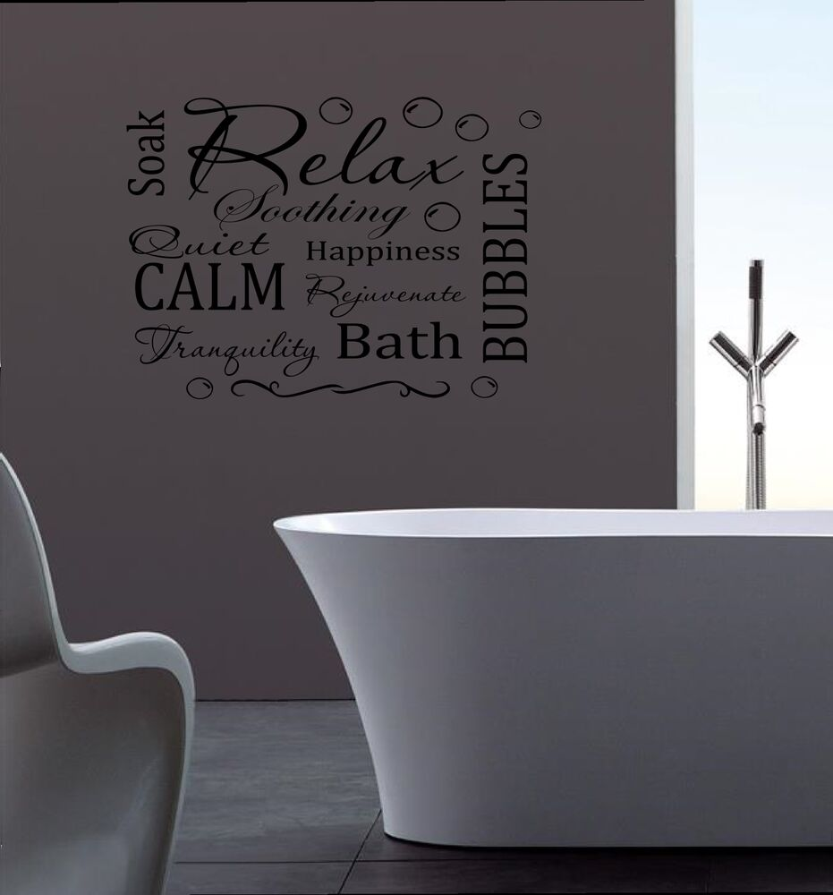 Relax Wall Sticker Mural Decal Removable Vinyl Bathroom Quote Ebay