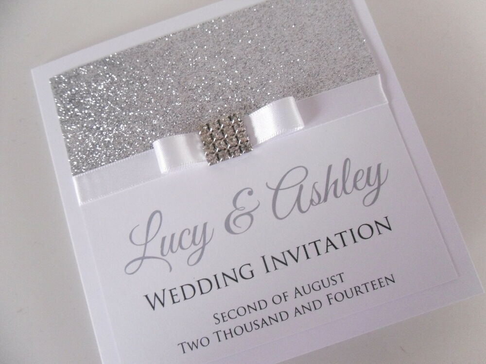 Handmade Personalised Madison Square Glitter Sparkly Wedding Invitation Sample