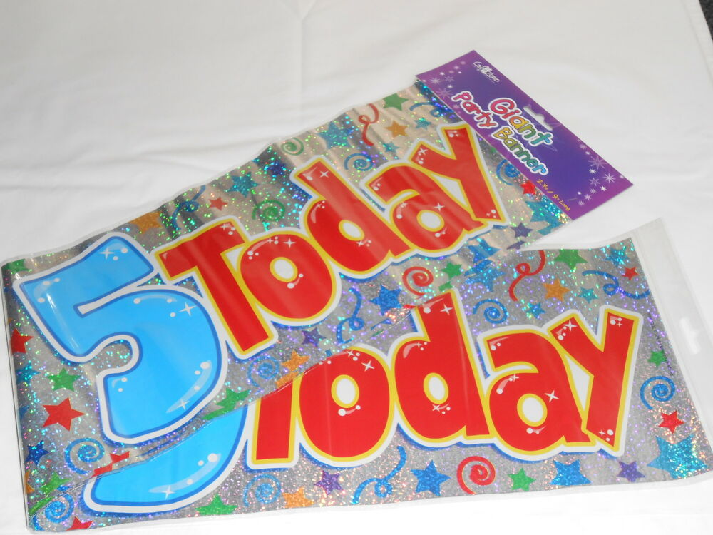 3 GIANT FOIL HAPPY 5TH BIRTHDAY BANNER / SASH WALL BANNER ...