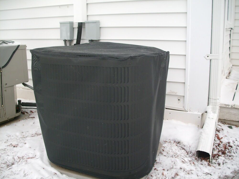 Heavyduty beathable tight mesh winter full air conditioner cover blk 28x28x28h ebay for Central air conditioner covers exterior