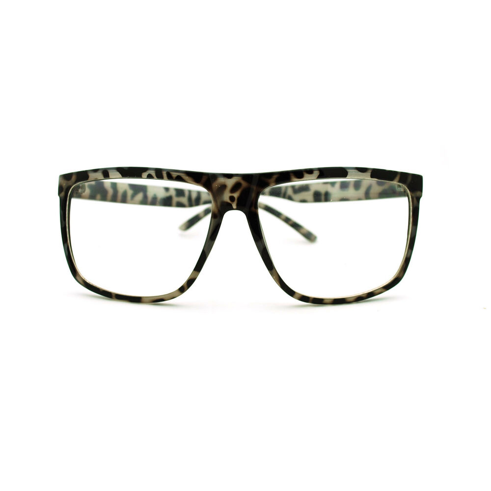 Big Plastic Frame Glasses : Large Oversized Plastic Frame Rectangular Geeky Nerd ...
