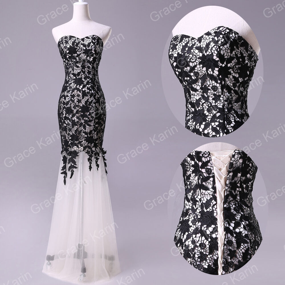 New black lace prom ball cocktail party wedding dress for Wedding dress in ebay