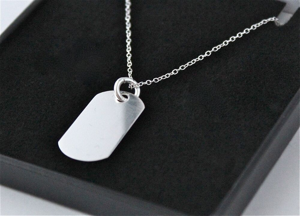 Mens 925 Sterling Silver Dog Tag Necklace With Free