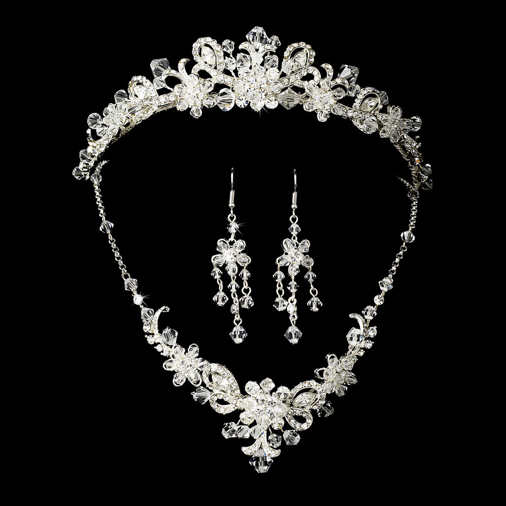 Silver bridal jewelry set and tiara of swarovski crystal for Wedding ring necklace
