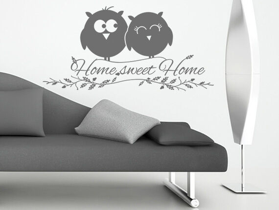 wandtattoo wandsticker spr che home sweet home eule wohnzimmer flur aufkleber ebay. Black Bedroom Furniture Sets. Home Design Ideas