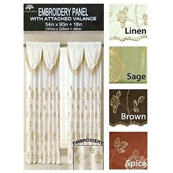 Gold Floral Embroidery Drapery Window Curtain Panel w/ Attached Valance 54''x90''