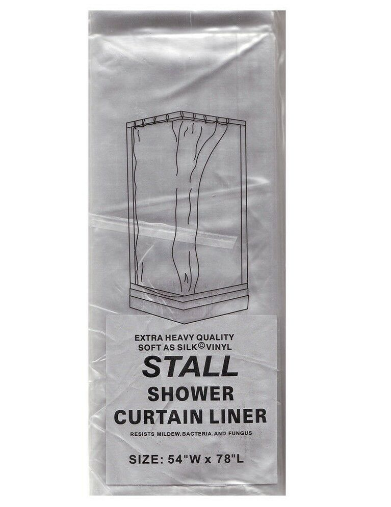 "... Fashions Stall Size Wide 5-gauge Shower Liner: 54"" W x 78"" L 