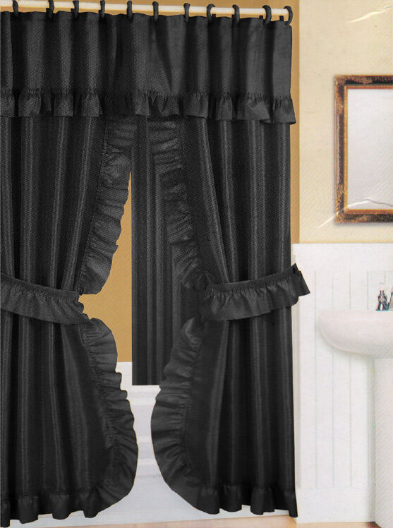 Curtains Ideas black cloth shower curtain : Double Swag Fabric Shower Curtain/12 Matching Hooks 2 Tie Backs ...
