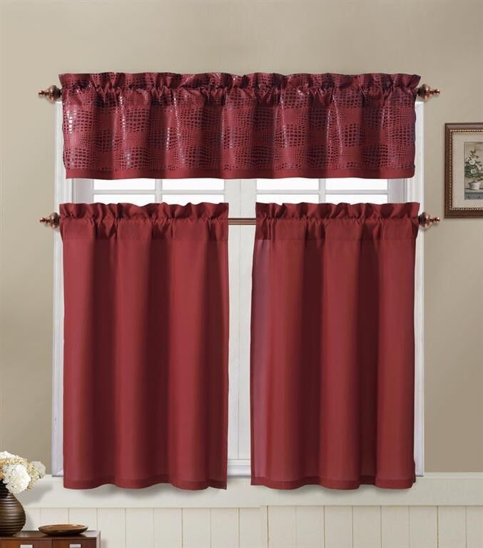Red And Brown Kitchen Window Curtain Set : 2 Tier Panel, 1