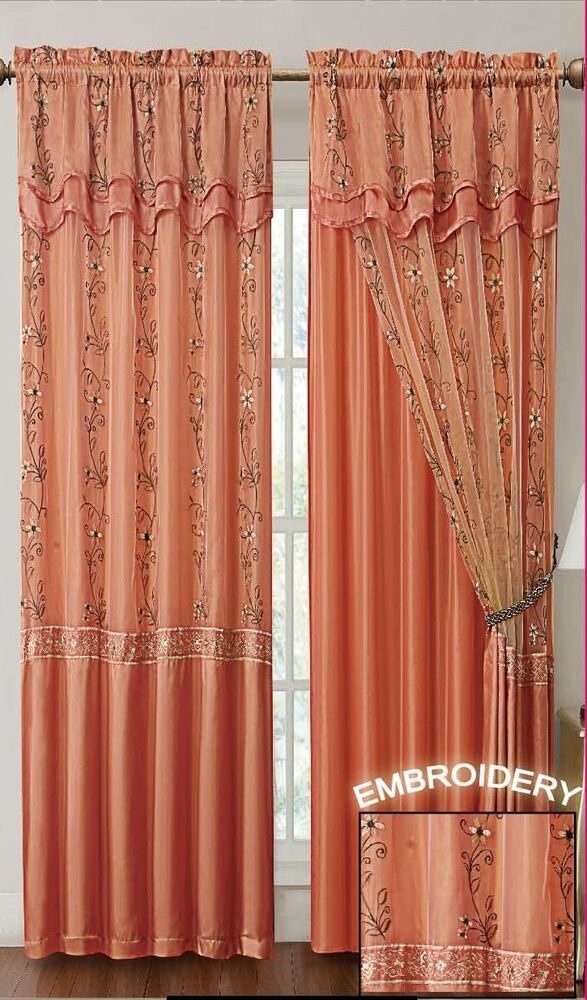 Orange Window Curtain Drapery Panel W Attached Backing