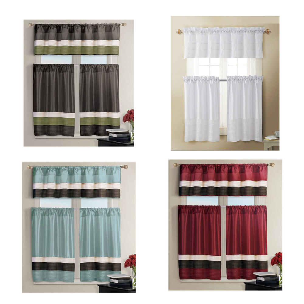 Kitchen window curtain set 1 valance 2 tiers burgundy for Kitchen window curtains