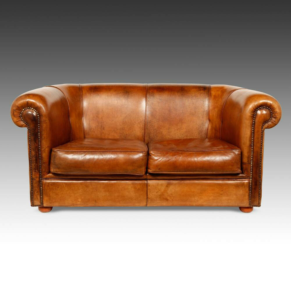 ANTIQUED DUTCH LEATHER LIBRARY CIGAR CLUB LOUNGE ARM CHAIR SOFA LOVESEAT