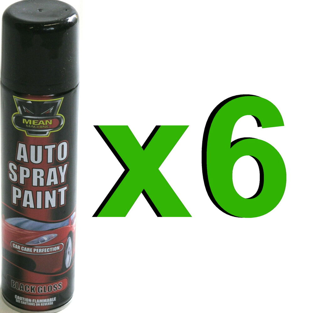6 x gloss black aerosol spray cans 300ml cars vans auto spray paint ebay. Black Bedroom Furniture Sets. Home Design Ideas