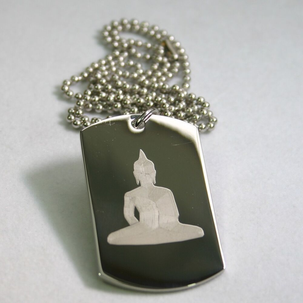 Zodiac Dog Tag Stainless Steel Pendant Necklace: BUDDHA DOG TAG STAINLESS STEEL AND STAINLESS BALL CHAIN