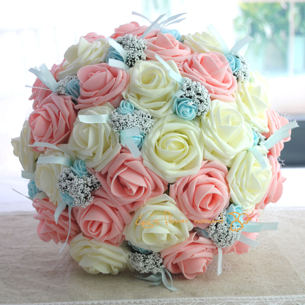 Wedding Flower Bridal Bouquet Sets Ivory Pink With Small