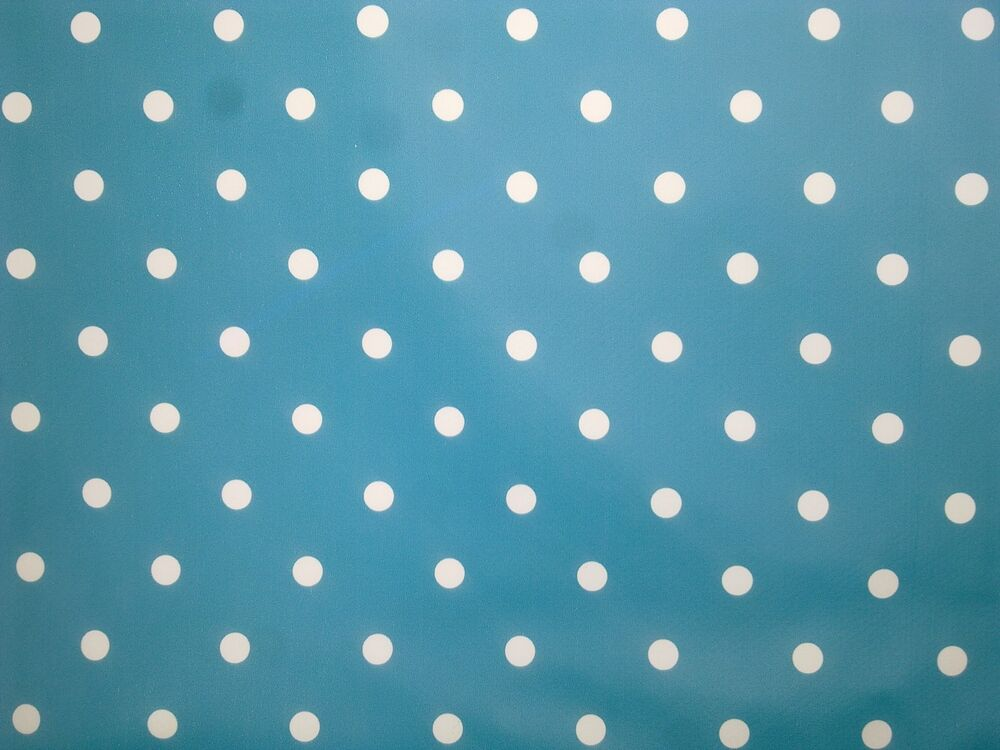 2 2m 86 Quot Teal Polka Dot Wipe Clean Table Cover Oilcloth