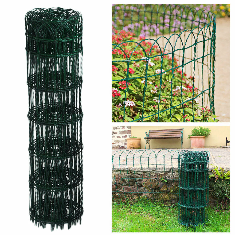 GARDEN BORDER FENCE 950mm X 10m GREEN PVC WIRE MESH EDGING EDGE LAWN FENCING