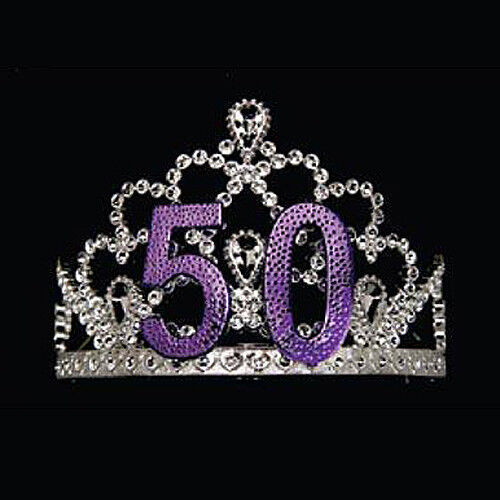 50th Birthday Tiara With Combs Fits Most Ladies,