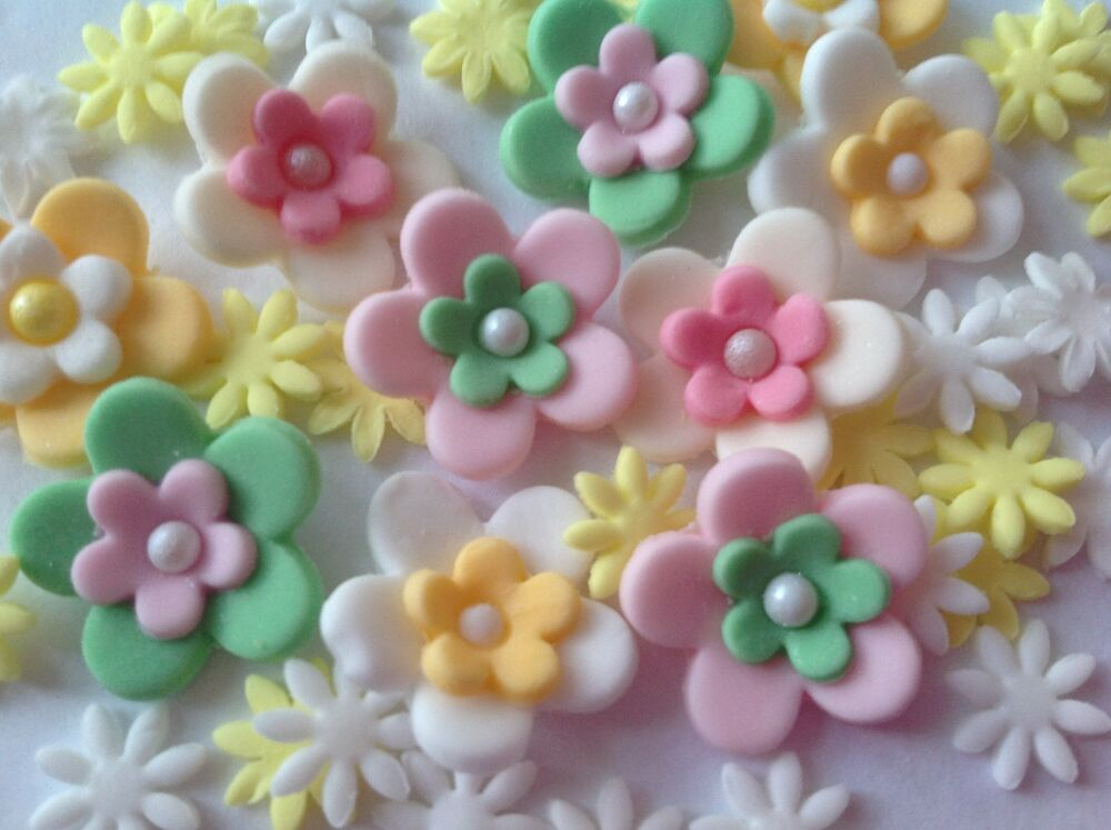 Edible icing sugar flower cupcake topper birthday wedding cake decoration ebay - Fleur comestible pour gateau ...