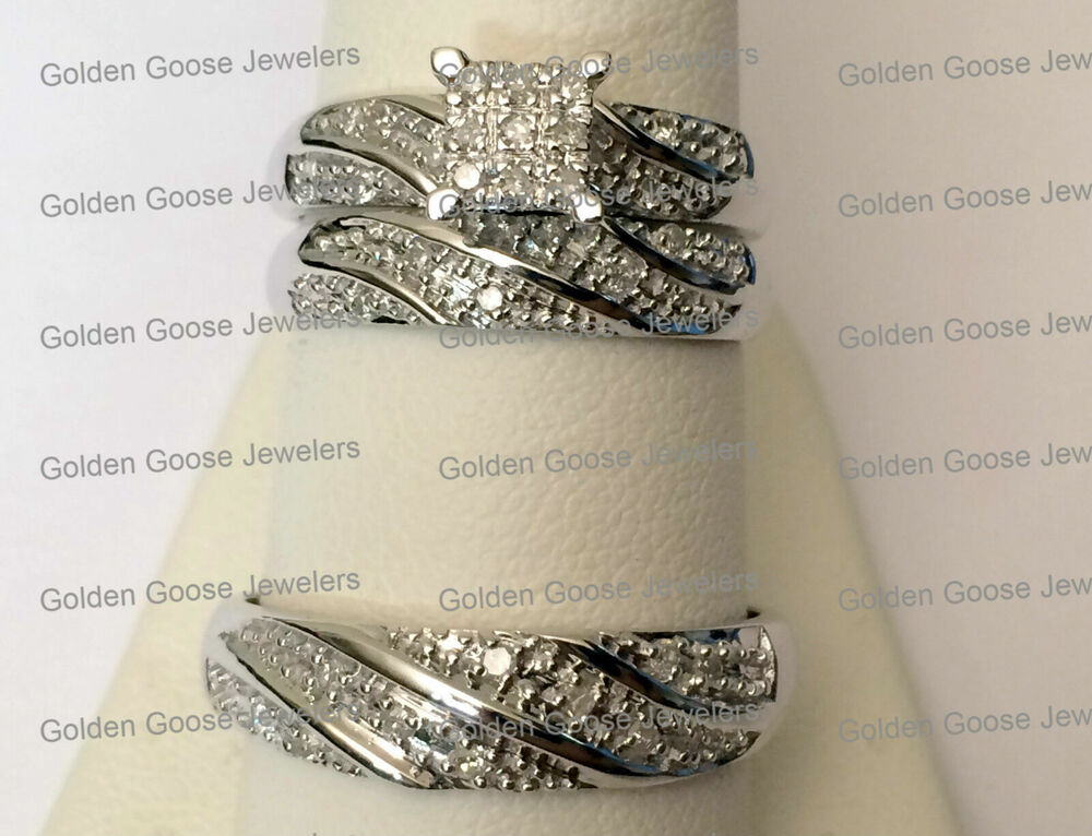 His Her Mens Woman Diamonds Wedding Ring Bands Trio Bridal