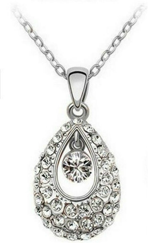 Ladies Women Silver Plated Necklace with Swarovski ...