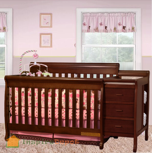 Multi function cherry solid wooden baby crib combo dresser Baby crib with changing table