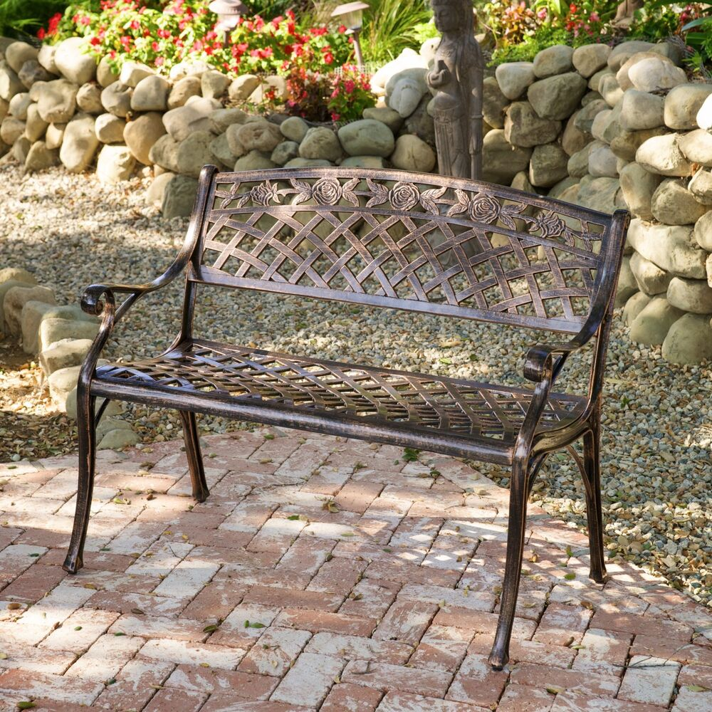 Outdoor patio furniture cast aluminum garden bench ebay for Outdoor furniture benches