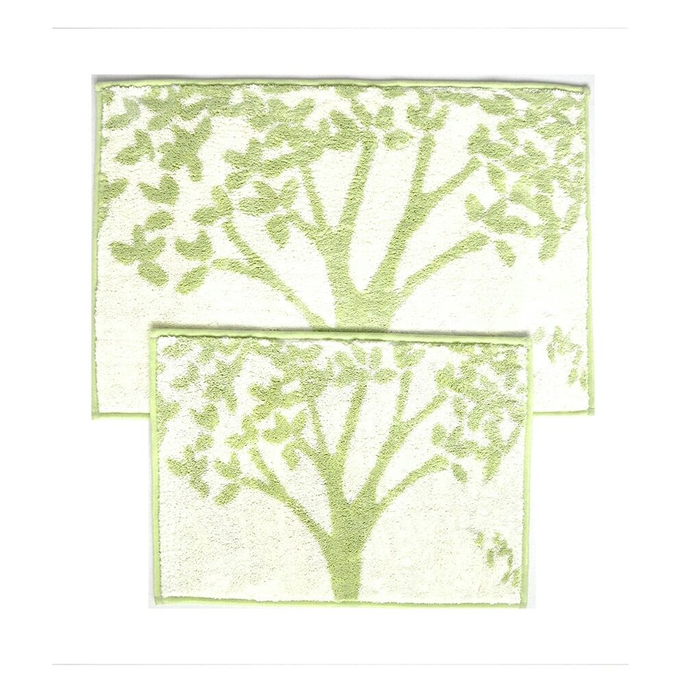 Microfiber bathroom rugs - Sage And Beige 2 Piece Bathroom Mat Rug Set Tree Design