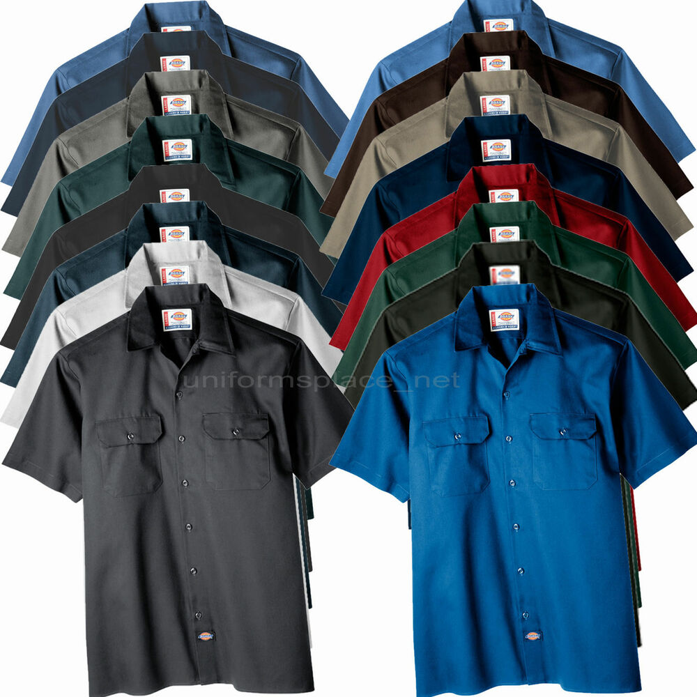 Dickies work shirts men short sleeve button front shirt for Solid color button up shirts