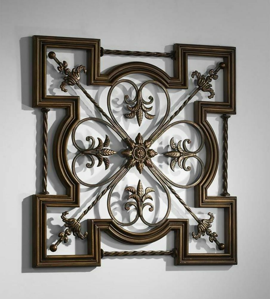 Ornate tuscan old world wrought iron wood fleur de lis wall decor art 30 ebay - Fancy wall designs ...
