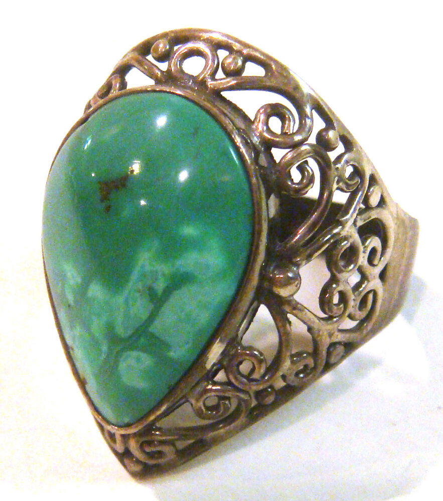 taxco 925 sterling silver vintage turquoise ring from