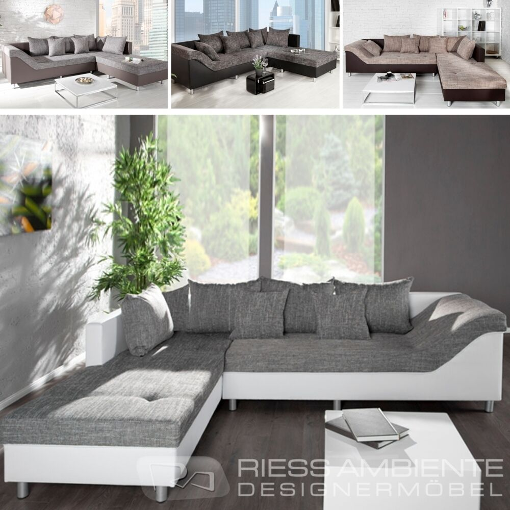 design ecksofa sultan strukturstoff farbwahl gro es sofa couch wohnlandschaft ebay. Black Bedroom Furniture Sets. Home Design Ideas