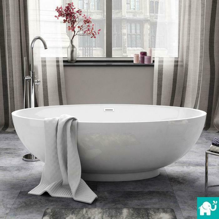 1685mm luxury modern freestanding bath acrylic white for Designer bath