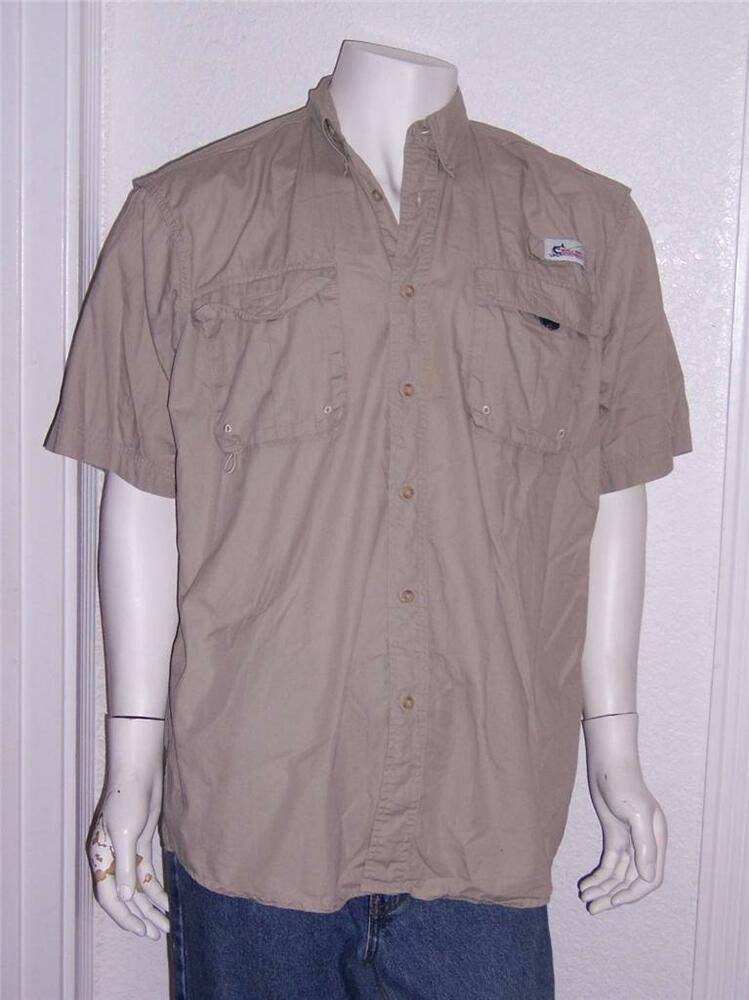 Mens world wide sportsman fishing shirt beige short sleeve for Field and stream fishing shirts