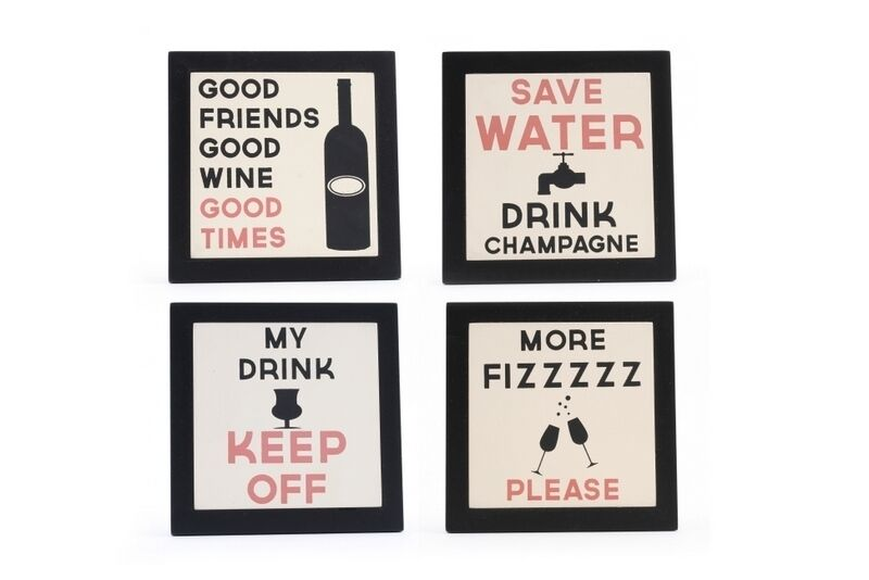 Vintage Black Wooden Drink Table Coasters Funny Wine Quote