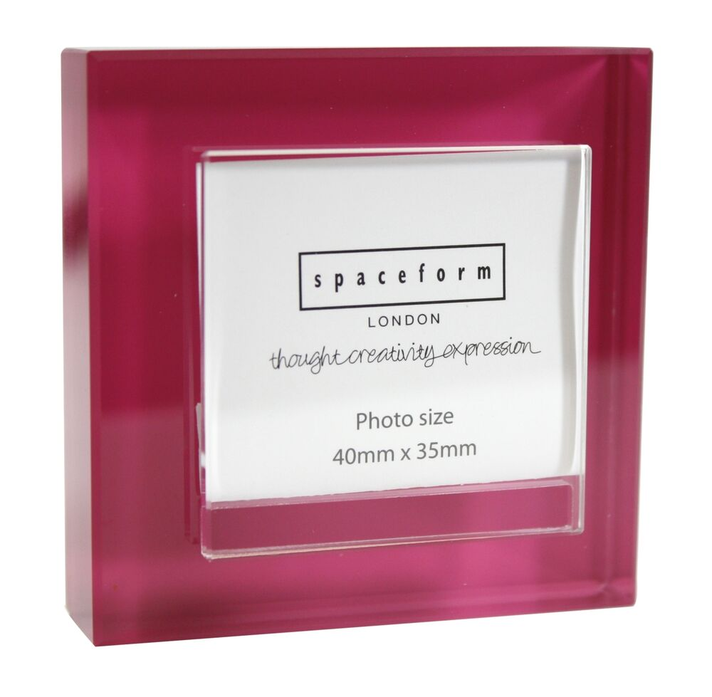 spaceform small glass block colour frame pink photo