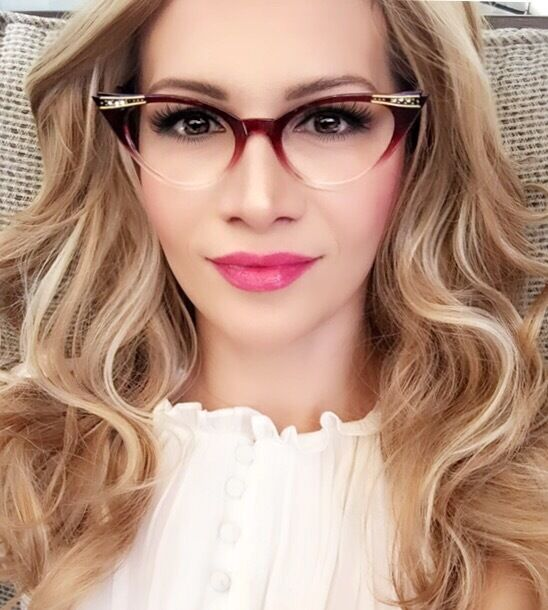 e7780d38828 Sexy Cat Eye Crystals Black Brown Purple Red Clear Hot Eyeglasses Frames  1317
